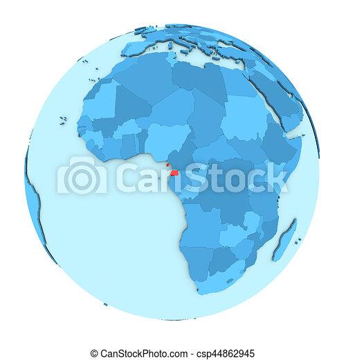 Equatorial Guinea on globe isolated - csp44862945