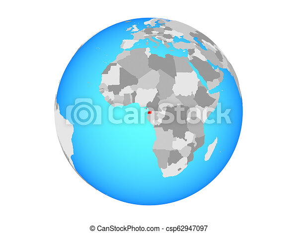 Equatorial Guinea on globe isolated - csp62947097