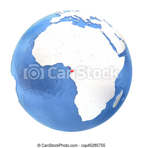 Equatorial Guinea on globe isolated on white - csp45285755
