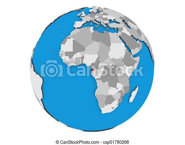 Equatorial Guinea on globe isolated - csp51780268