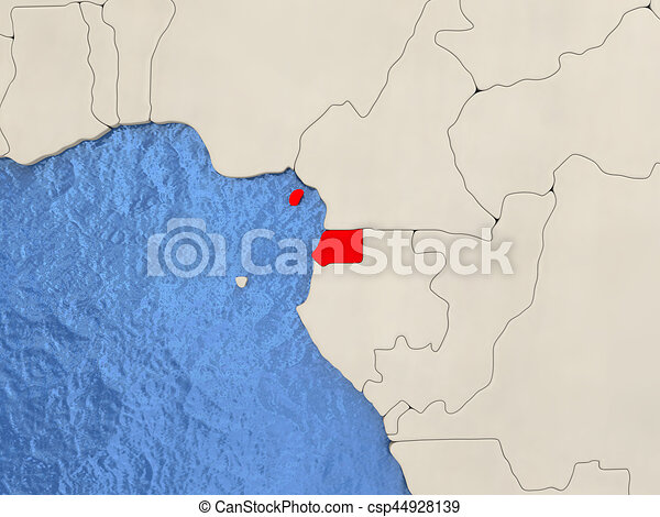Equatorial guinea on map. Equatorial guinea in red on political map ...