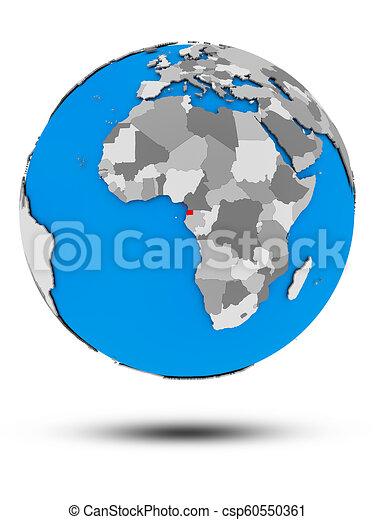 Equatorial Guinea on political globe isolated - csp60550361