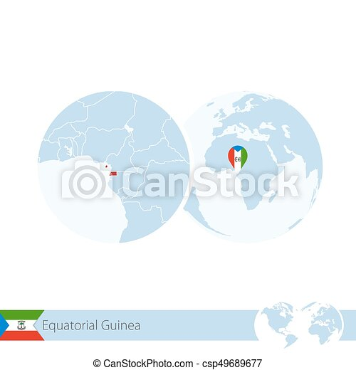 Equatorial Guinea on world globe with flag and regional map of Equatorial Guinea. - csp49689677