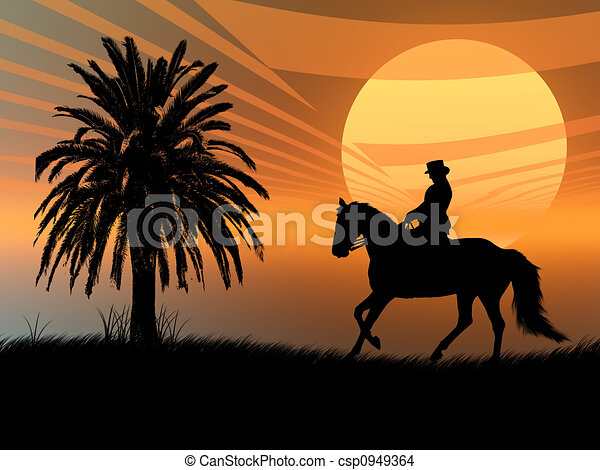 Equestrian in the sunset - csp0949364