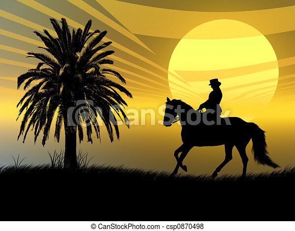Equestrian in the sunset - csp0870498