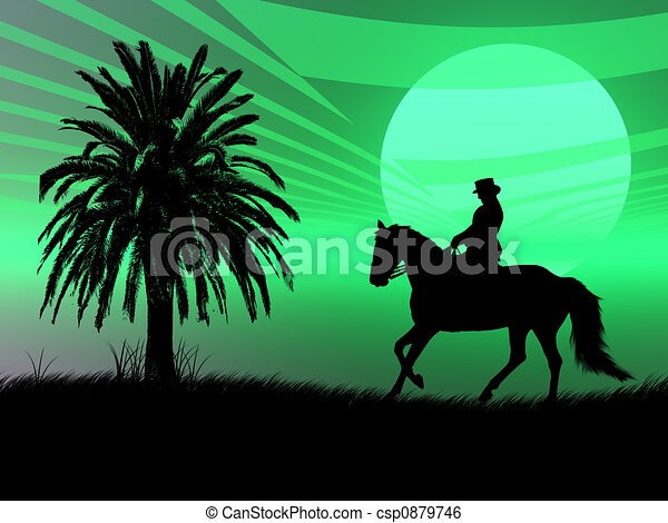 Equestrian in the sunset - csp0879746