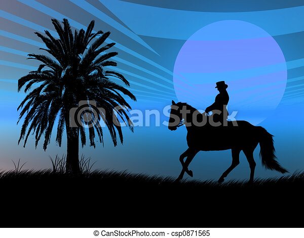 Equestrian in the sunset - csp0871565