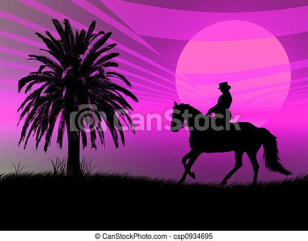 Equestrian in the sunset - csp0934695