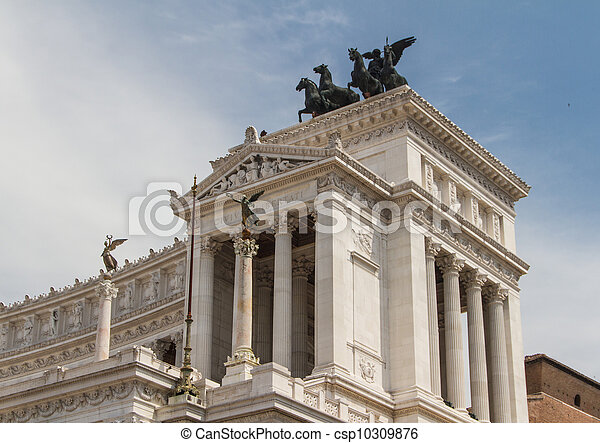 Equestrian monument to Victor Emmanuel II near Vittoriano at day in Rome, Italy - csp10309876