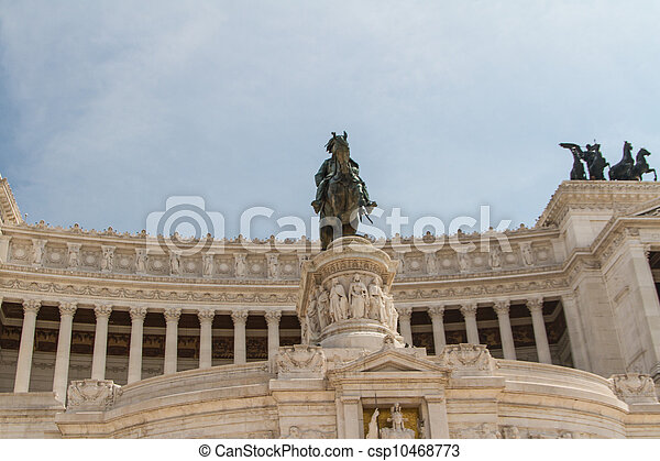 Equestrian monument to Victor Emmanuel II near Vittoriano at day in Rome, Italy - csp10468773