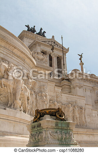 Equestrian monument to Victor Emmanuel II near Vittoriano at day in Rome, Italy - csp11088280