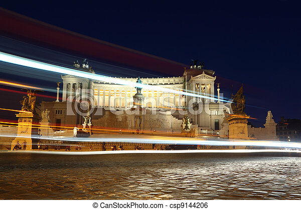 Equestrian monument to Victor Emmanuel II near Vittoriano at night in Rome, Italy - csp9144206