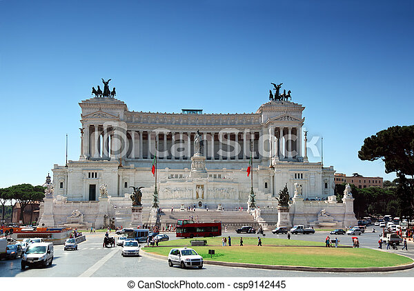 Equestrian monument to Victor Emmanuel II near Vittoriano at day in Rome, Italy - csp9142445