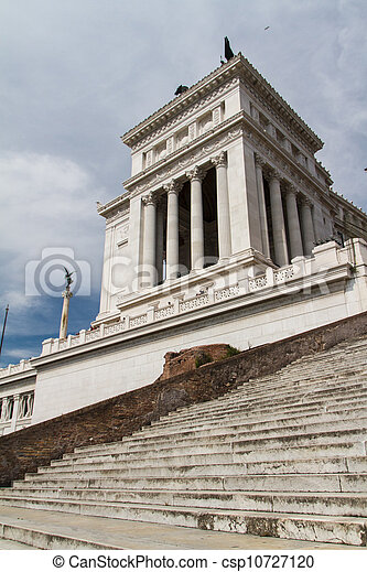 Equestrian monument to Victor Emmanuel II near Vittoriano at day in Rome, Italy - csp10727120