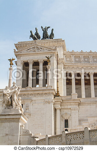 Equestrian monument to Victor Emmanuel II near Vittoriano at day in Rome, Italy - csp10972529