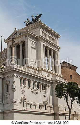Equestrian monument to Victor Emmanuel II near Vittoriano at day in Rome, Italy - csp10381999