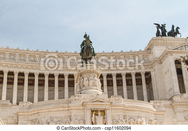 Equestrian monument to Victor Emmanuel II near Vittoriano at day in Rome, Italy - csp11602094