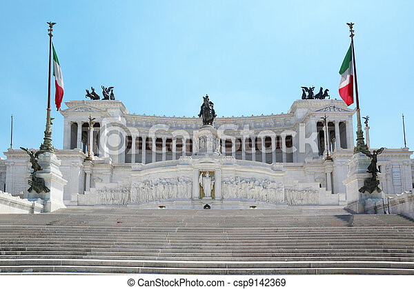 Equestrian monument to Victor Emmanuel II near Vittoriano in Rome, Italy - csp9142369