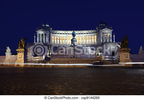 Equestrian monument to Victor Emmanuel II near Vittoriano at night in Rome, Italy - csp9144269