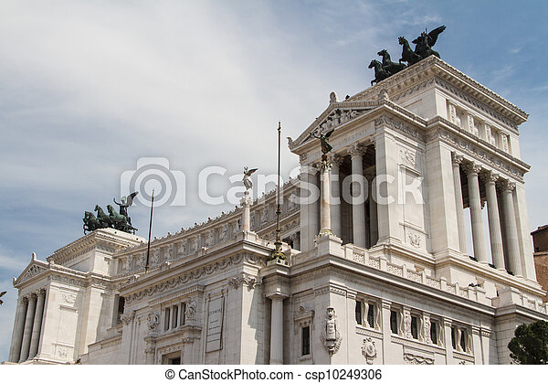 Equestrian monument to Victor Emmanuel II near Vittoriano at day in Rome, Italy - csp10249306