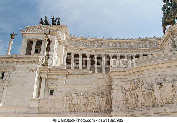 Equestrian monument to Victor Emmanuel II near Vittoriano at day in Rome, Italy - csp11395902