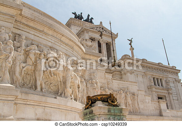 Equestrian monument to Victor Emmanuel II near Vittoriano at day in Rome, Italy - csp10249339