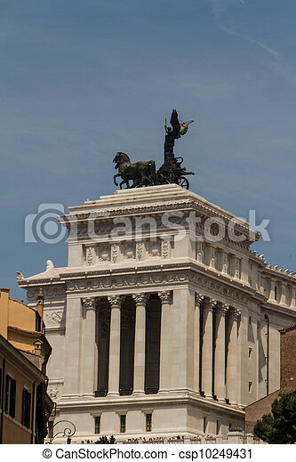 Equestrian monument to Victor Emmanuel II near Vittoriano at day in Rome, Italy - csp10249431