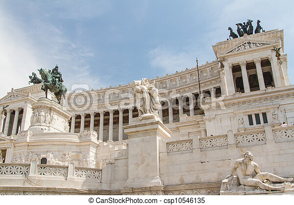 Equestrian monument to Victor Emmanuel II near Vittoriano at day in Rome, Italy - csp10546135