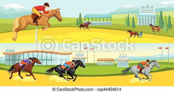 Equestrian Sport Cartoon Horizontal Banners