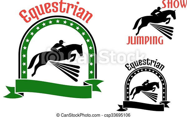 Equestrian sport symbols with jumping horses - csp33695106