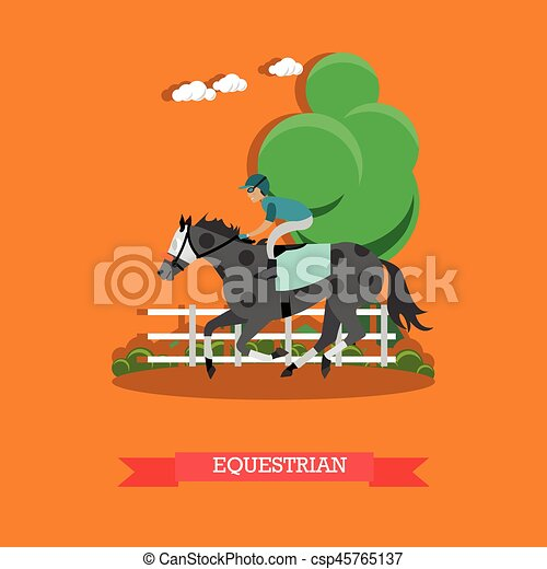 Equestrian Sport Vector Illustration In Flat Style