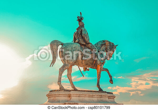 Equestrian statue of Victor Emmanuel II, which is mounted on the Vittorio Emanuele II Monument (Vittoriano) in Rome, Italy - csp80101799
