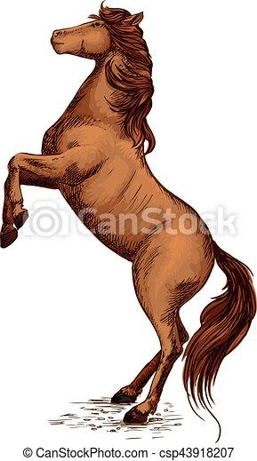 Equine Horserace Sport Symbol Of Rearing Horse Brown Arabian