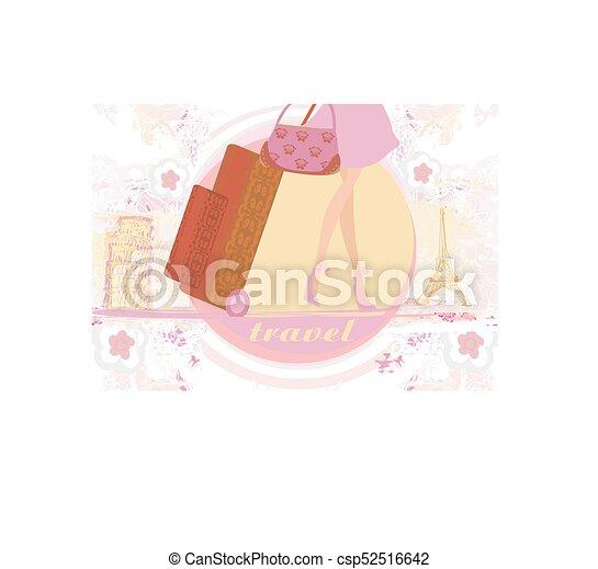 Una chica de viaje en Francia e Italia con equipaje - csp52516642