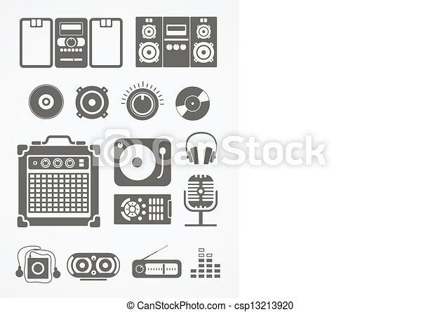 equipamento, áudio, cobrança, ícones - csp13213920