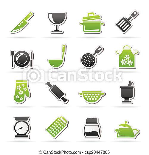equipamento, ícones, cozinhar - csp20447805