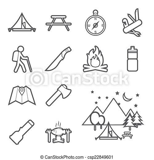 equipamento, acampamento, ícone - csp22849601