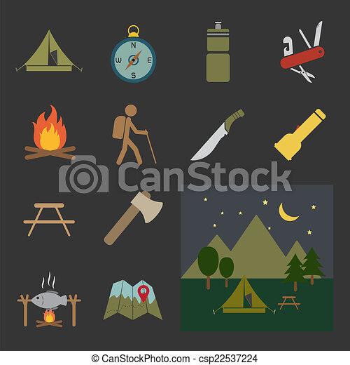 equipamento, acampamento, ícone - csp22537224