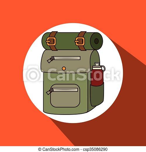 equipamento, acampamento, desenho - csp35086290