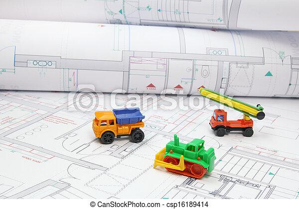 equipamento, construção, brinquedo, projetos, arquitetônico - csp16189414