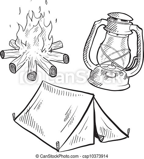 equipamento, esboço, acampamento - csp10373914