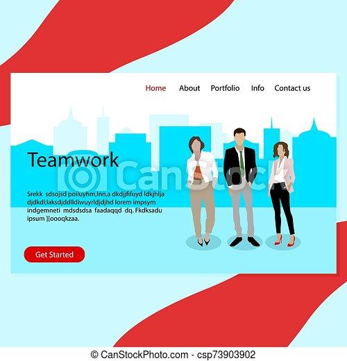 equipe affaires, page, atterrissage, confiant, vrai, reussite, collaboration - csp73903902