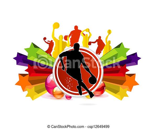 equipe, basquetebol, desporto, sinal - csp12649499
