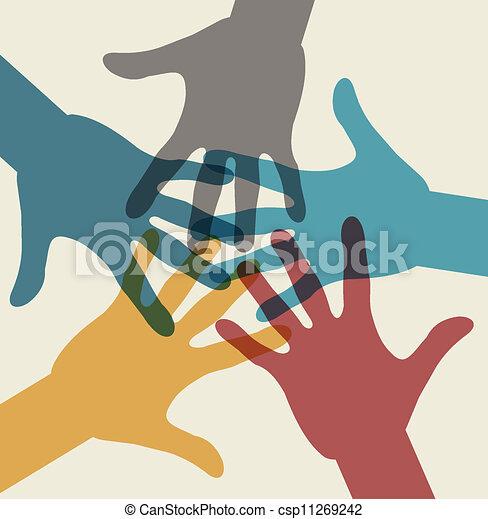 equipe, multicolored, símbolo., mãos - csp11269242