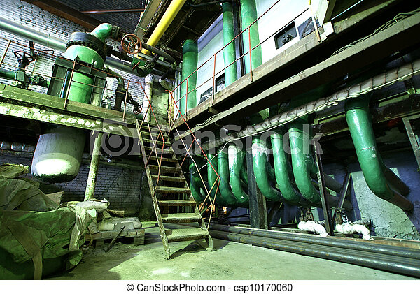 Equipment, cables and piping as found inside of  industrial power plant - csp10170060