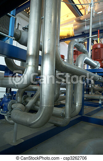 Equipment, cables and piping as found inside of a modern industrial power plant         - csp3262706
