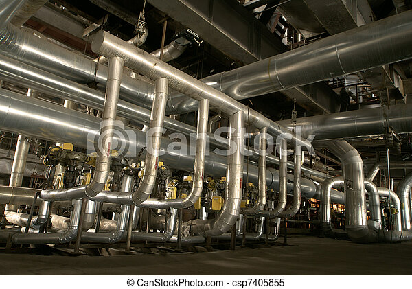 Equipment, cables and piping as found inside of a modern industrial power plant - csp7405855