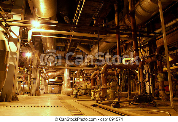 Equipment, cables and piping as found inside of a modern industrial power plant     - csp1091574