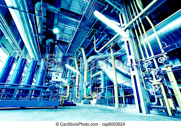 Equipment, cables and piping as found inside of a modern industrial power plant - csp6003624