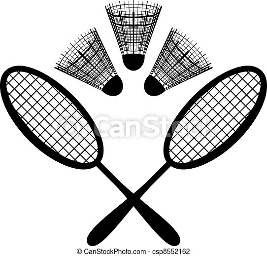 equipment for the badminton silhouette set objects of vector rh canstockphoto com badminton clipart background badminton clipart background